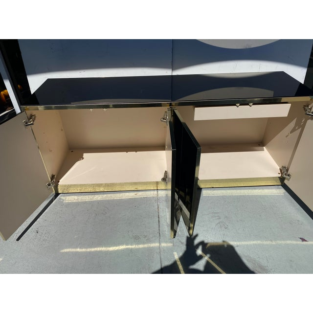 Mirrored and Brass Finish Metal Cabinet For Sale - Image 9 of 11