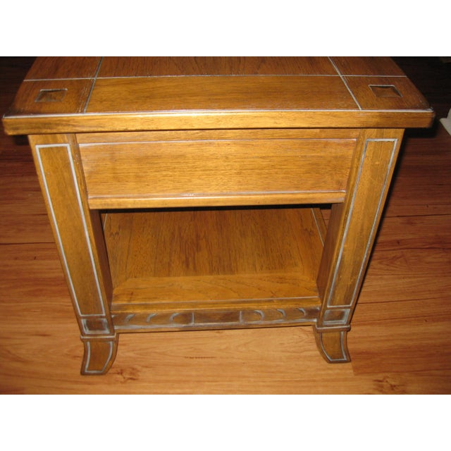 Brown Vintage Rustic Style End Table For Sale - Image 8 of 10
