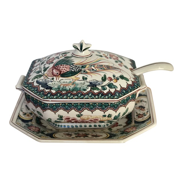 Hand Painted Ceramic Lidded Tureen With Under Plate & Ladle For Sale