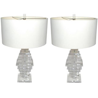 1970s Pair of Lucite Table Lamps For Sale