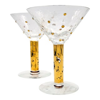 1990s Hand Blown Gold Leaf Beaded Martini Glasses Pr. For Sale