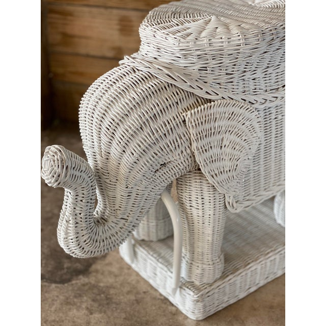 White Wicker Elephant Garden Stool For Sale - Image 8 of 13
