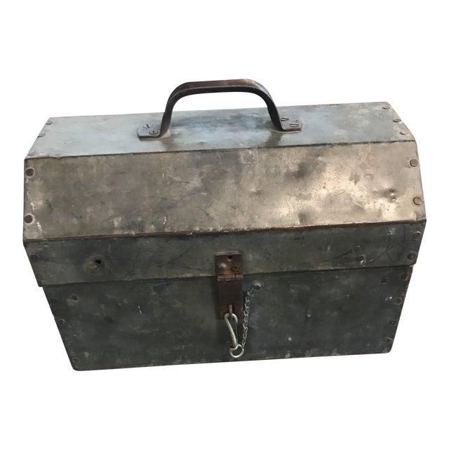Vintage Metal Locking Tool Box For Sale
