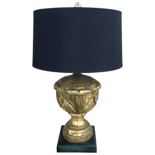 Chic Gold Leaf Custom Hollywood Regency Lamp For Sale