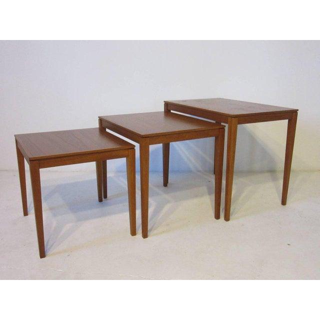 Danish Teak Wood Nesting Tables by Bent Silberg Mobler - set of 3 For Sale In Cincinnati - Image 6 of 6