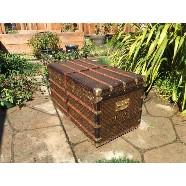 1930s French Louis Vuitton Monogram Steamer Trunk For Sale - Image 6 of 13