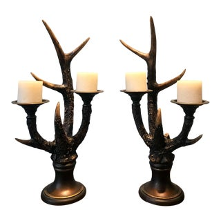 Stag Horn Candle Holders - a Pair For Sale