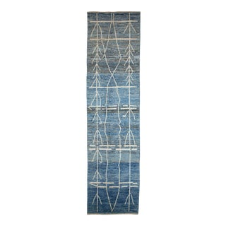 Afghan Moroccan Style Runner Rug With White Tribal Details on Blue & Gray Field For Sale