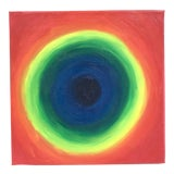 Image of 1990's Rainbow Abstract Oil Painting on Small Square Canvas For Sale