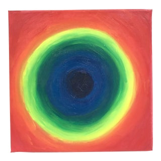 1990's Rainbow Abstract Oil Painting on Small Square Canvas For Sale
