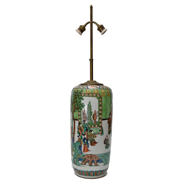 Chinese Signed Hand-Painted Chinese Porcelain Table Lamp with Original Shade For Sale - Image 3 of 9