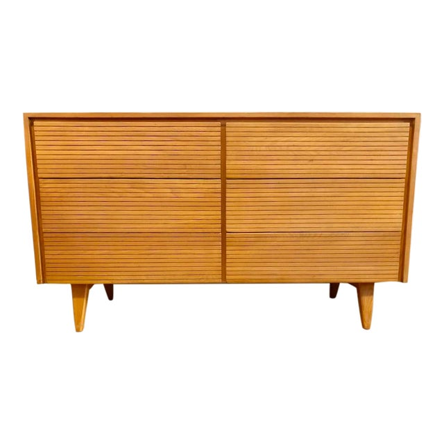 Mid Century Maple 6 Drawer Lowboy Dresser 1950s For Sale