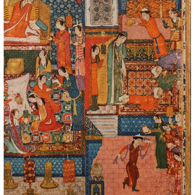 Lithograph 1940s Original Lithograph After Pre-1396 Persian Painting by Junayad Naqqash Sultani For Sale - Image 7 of 13