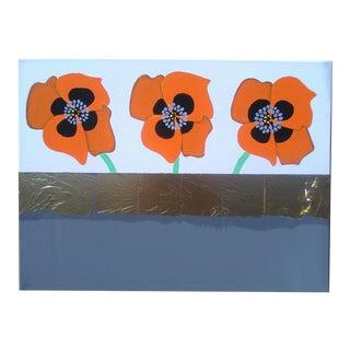 Acrylic Painting of Orange Poppy Flowers For Sale