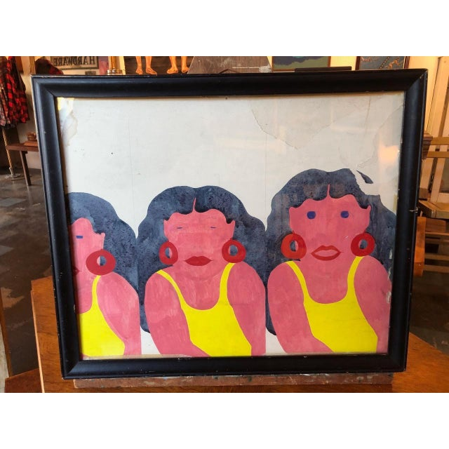 Yellow Swimsuit Sisters Painting on Paper For Sale - Image 11 of 11