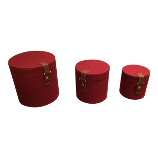 Pomegranate Felt Round Boxes - Set of 3