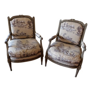 Period 18th Century Charles X Upholstered Chairs- a Pair For Sale