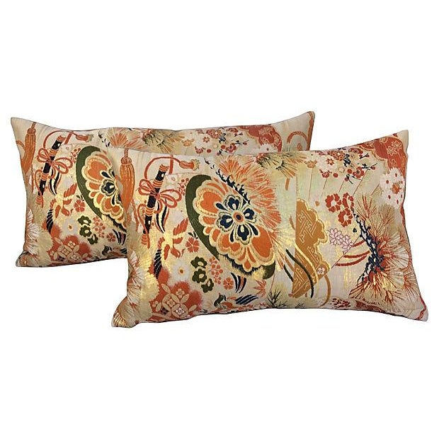 Japanese Silk Metallic Obi Pillows - A Pair For Sale