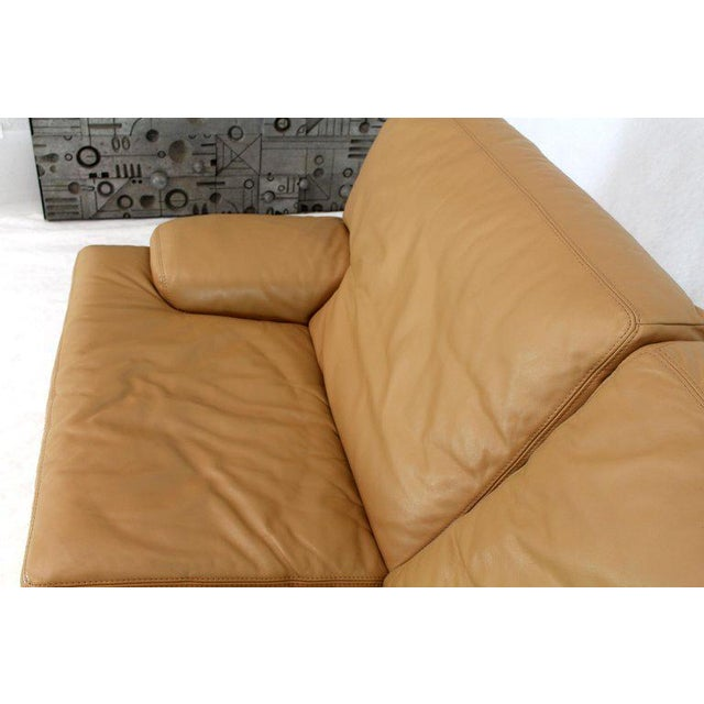 Roche Bobois Light Peach Leather Loveseat Small Sofa For Sale - Image 9 of 11