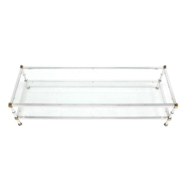 Brass Mid-Century Modern Chrome Brass Glass Top Large Rectangular Coffee Table For Sale - Image 7 of 7