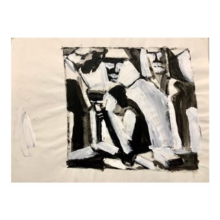 """Donald Stacy """"Group Meeting"""" C.1950s Gouache Mid Century Figurative Painting For Sale"""
