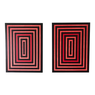 Original Hard Edge Abstract Op Art Pair of Large Scale Paintings by J. Marquis For Sale