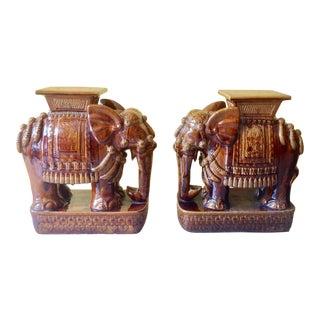 Pair of Elephant Motif Garden Seats For Sale