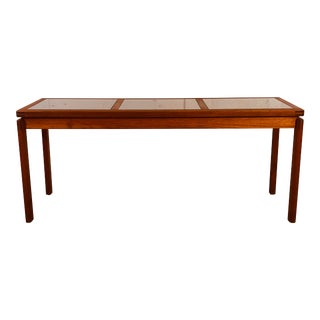 Danish Teak & Smoked Glass Top Console Table For Sale