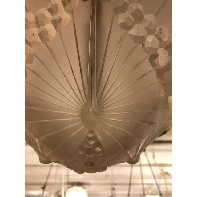 Glass French Art Deco Geometric Chandelier Signed by Schneider For Sale - Image 7 of 10