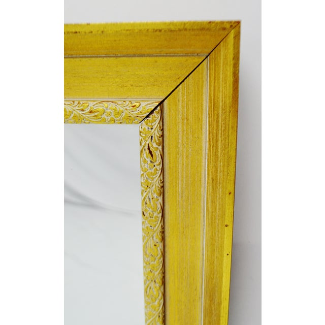 Gold Vintage Gold and White Striated Paint Framed Mirror For Sale - Image 8 of 10