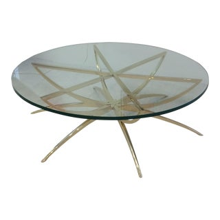 1970s Italian Brass Spider Based Cocktail Table For Sale