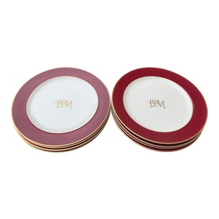 B & M Monogrammed With Gold Letters Dinner Plates - Set of 8 For Sale