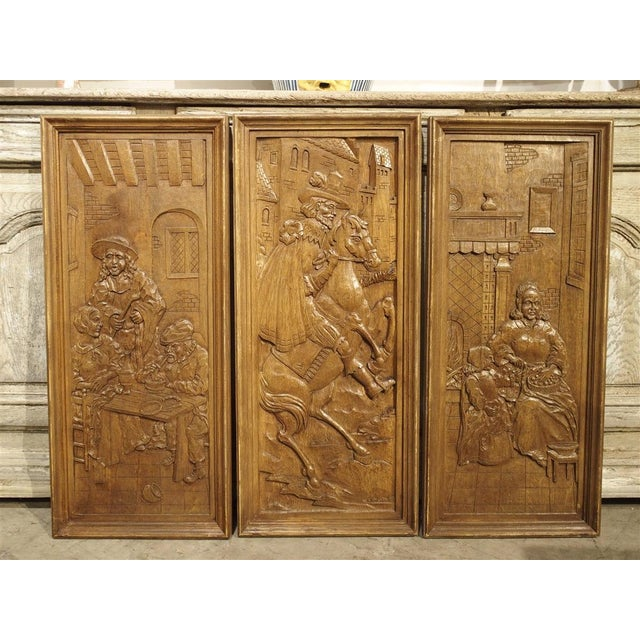 Set of Three Bas Relief Carved Belgian Panels, Circa 1930 For Sale - Image 13 of 13