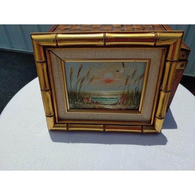 "Burnt Umber ""Birds and Sea"" Vintage Oil Painting by Bernard Duggan For Sale - Image 8 of 8"