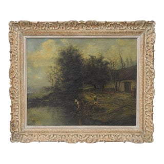 19th C. Albert Lenfant French Country Landscape Oil Painting c.1874