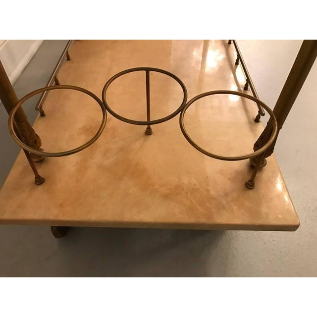 Aldo Tura Brass and Parchment Bar Cart For Sale - Image 9 of 9