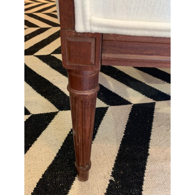 Ivory Carved Walnut and Upholstered Wingback Club Chair For Sale - Image 8 of 13