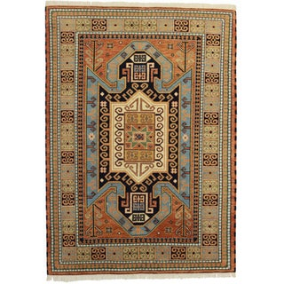 Hand Knotted Wool Indian Rug - 5′9″ × 8′ For Sale