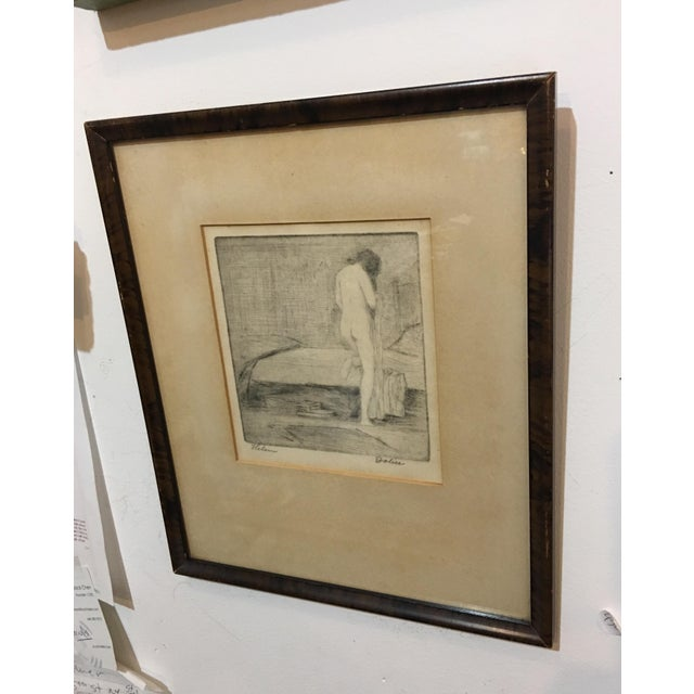 A beautiful Etching on paper by New York artist Leon Dolice. A beautiful nude pose. Nicely framed. A great art collectible.
