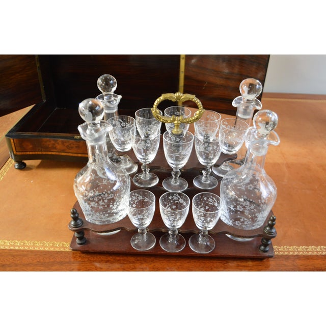 19th Century Portable Bar With the Origianal Etched Crystals Decanters and 14 Sherry Glasses Sitting in a Rosewood Box. For Sale - Image 4 of 11