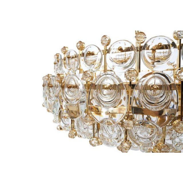Exceptional Large Gilt Brass and Glass Chandelier Lamp, Palwa circa 1960 For Sale - Image 4 of 11