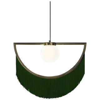Wink Gold-Plated Pendant Lamp With Green Fringes by Houtique & Masquespacio For Sale
