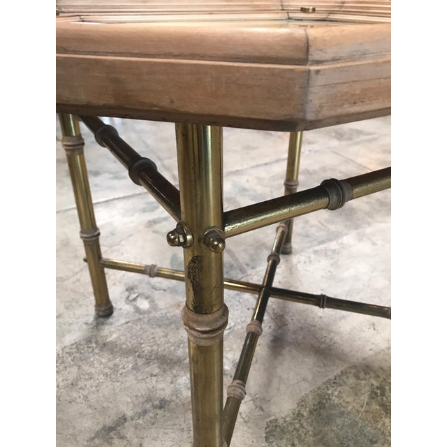 Italian Coffee table or side table in brass and wood. For Sale - Image 4 of 6