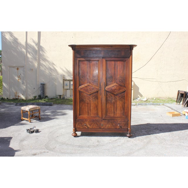 19th Century French Louis Philippe Walnut Period Chateau Armoire circa 1850s - Image 11 of 11