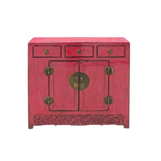 Oriental Distressed Pink Credenza Sideboard Buffet Table Cabinet