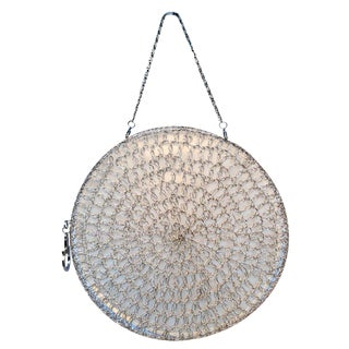 Salvatore Ferragamo Runway Silver Wire Woven Handbag For Sale