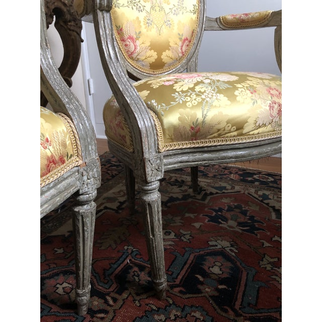 Yellow 18th Century Vintage Louis XVI 1760s French Fauteuils- A Pair For Sale - Image 8 of 12