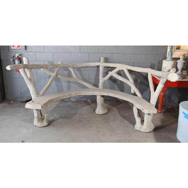 French faux bois curved cement bench.