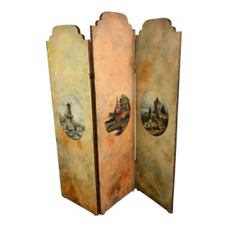 Vintage French Hand-Painted Screen/Room Divider For Sale