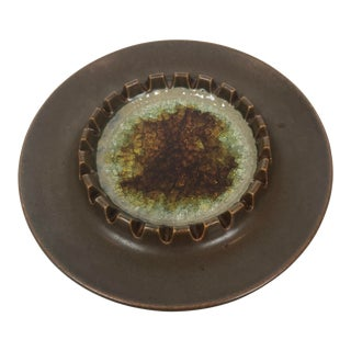 Mid-Century 1966 Robert Maxwell Ceramic and Glass Ashtray, Signed and Dated For Sale